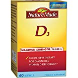 Nature Made Vitamin D3, Maximum Strength, 10,000 IU, Softgels, 60 softgels