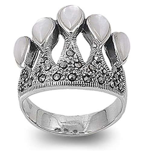 Sterling Silver Marcasite Crown Ring Mother Of Pearl Cz Royal Design 925 18Mm Size 10 Valentines Day Gift