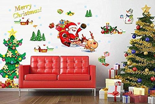 クリスマス サンタ クロース トナカイ ツリー ウォールステッカー 壁紙シール ディスプレー 模様替え 窓 壁 リビング 雪の結晶 2枚組 (クリスマス1)