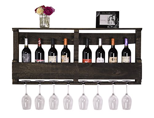 DAKODA LOVE - The Original Wine Rack, USA Handmade Reclaimed Wood, Wall Mounted, 8 Bottle 8 Long Stem Glass Holder & Shelf (Ebony) (Wall Decor Wine Rack compare prices)