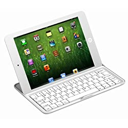 Xtek® Wireless Bluetooth Aluminum Keyboard Stand Case Cover For Apple iPad mini 7.85 7.9 inch Tablet - White color