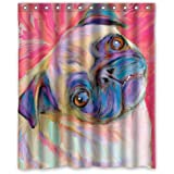 Funny Dog Shower Curtain - Pretty Clean Look Pug Bathroom Shower Curtains Polyester Waterproof 60 Wide x 72 High