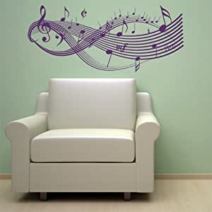 Clef music notes wall decal sticker art studio for Dining room wall art amazon