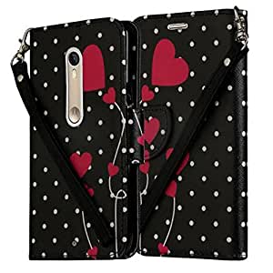 Moto X Pure Edition / Style (2015) All-in-One Phone Wallet Case Pouch with Kickstand By Zase (Black White Polka Dots)