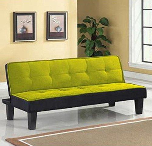 Color Block Futon Adjustable Sofa, Green