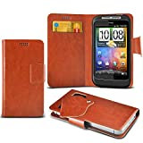 (Brown) HTC Wildfire S Schutzhülle Mega Dünn Faux Leder Saugnapf Tasche Case Cover hülle mit Kredit- /Debitkarte Steckplätze Aventus
