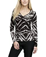 Comma Damen Langarmshirt 81.311.31.2802 T-SHIRT LANGARM, All over Druck Regular Fit