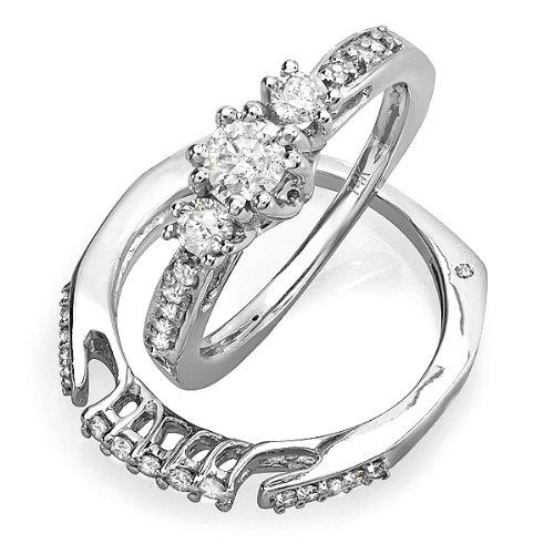 0.75 Carat (ctw) 14k White Gold 3 Stone Round Diamond Ladies Bridal Ring Set Matching Band 3/4 CT