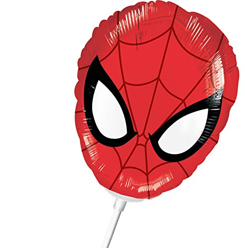 1 Folienballon Mini - Luftgefüllt am Stab - Spiderman Maske ++ BEREITS mit Luft gefüllt ++ High Quality - Premiumline Luftballons ++ VERSANDKOSTENFREI vom Luftballonprofi & Heliumballon - Experten aus Deutschland galleryy ++