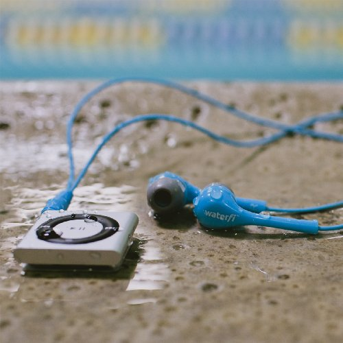 Waterfi Waterproof Apple iPod Shuffle with Short Cord Waterproof Headphones - Best Swimming MP3 Player (New Model) (Space Grey)