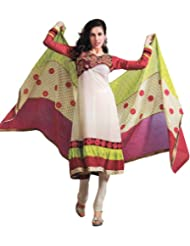 Exotic India Ivory Choodidaar Kameez Suit With Embroidery On Neck And Pa - Ivory