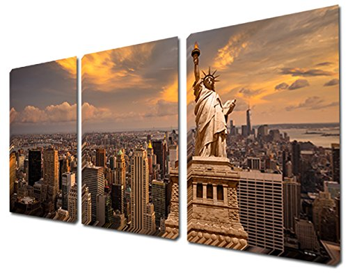 Mon Art 16x24 Inch x3 Pics New York The Statue of Liberty City Canvas Print Oil Painting Wall Art Modern Canvas Decor Abstract Paintings on Canvas Brown Stretched and Framed Ready to Hang (Paint New York compare prices)