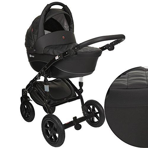 True-Love-Citylike-Plus-cuero-ecologa-lgico-3-in-1-Cochecito-Combinado-asiento-del-coche-incluye-adaptadores-cubierta-para-la-lluvia-mosquitero-ruedas-giratorias-de-02-colores-TR-ecologa-5B-negro