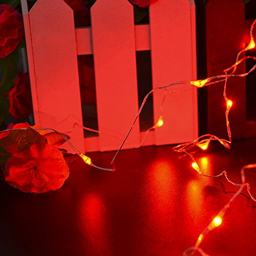 Halloween String Lights Indoor : CrazyFire Battery Operated 2M/6.56FT Red Copper Wire String Lights with 20 LEDs Romantic and ...