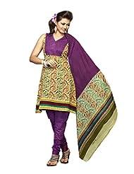 Karishma Suit - FREE Maybelline Colossal Kajal MRP 199 - S Multicolor Floral Print Pure Cotton Unstiched Salwar...