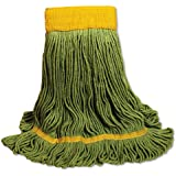 UNISAN EcoMop Looped-End Mop Head, Recycled Fibers, Large Size, Green (1200L)