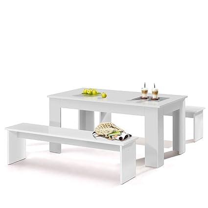 Esszimmer-Garnitur Essgruppe 3-teiliges Komplettset mit 2 Bänken und 1 Tisch in verschiedenen Farben (Weiß)