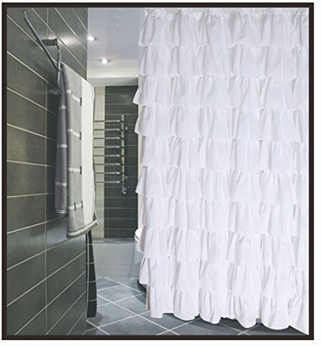 Flamenco Ruffle Shower Curtain (white) (White Shower Curtain With Ruffles compare prices)