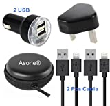 Asone Black 4-in-1 Earphone/cable Hard Case/Bag + Wall Charger + Car Charger+ 1M Length USB Sync Data / Charging Cable for iPhone 5 / 5C / 5S iPad Mini iPod Touch 5th Gen