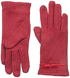 Gloves International Women's Wool Blend Gloves with Bow, Deep Red, Large/X-Large