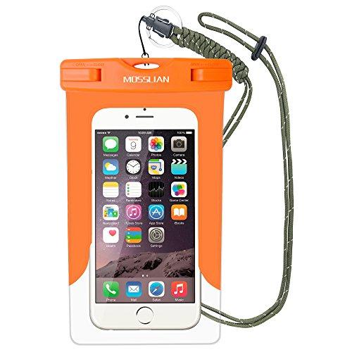 """MOSSLIAN 6"""" Custodia Impermeabile Universale per Telefono Cellulare Piscina Nuoto Drift Surf Sci Pesca Immersioni ecc sport acquatici / iphone 6s plus, iphone 6, Asus ZenFone 2, Sumsung Note 2 3 4 (Arancione (W/O band))"""