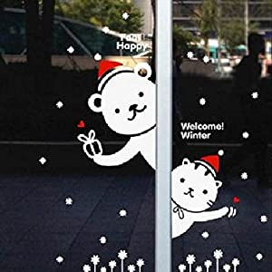 貼ってはがせる ウォールステッカー クリスマス 赤い帽子 の ベア & キャット
