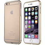 TARTARUS [Clear Crystal] Slim Bumper Case Protective Metal Frame, Back Tempered Glass For Apple Iphone 6/6s, Gold