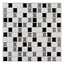 Ecoart Peel and Stick Wall Tile for Kitchen / Bathroom Backsplash with Mosaic Design, Black Grey White, 12\