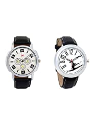 Gledati Men's White Dial And Foster's Women's White Dial Analog Watch Combo_ADCOMB0001747