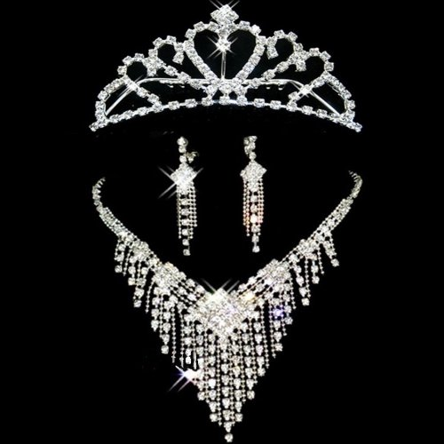 (SYA) ブライダル ティアラ + イヤリング + ネックレス セット ラインストーン ウェディング ドレス 花嫁 結婚式 二次会 パーティー (3点セット, ハート型王冠ティアラ:B)