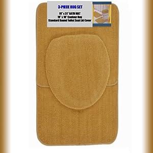 gold 3 bathroom set 1 19 quot x 31 quot bath mat rug 1 19 quot x 18 quot contour mat rug 1