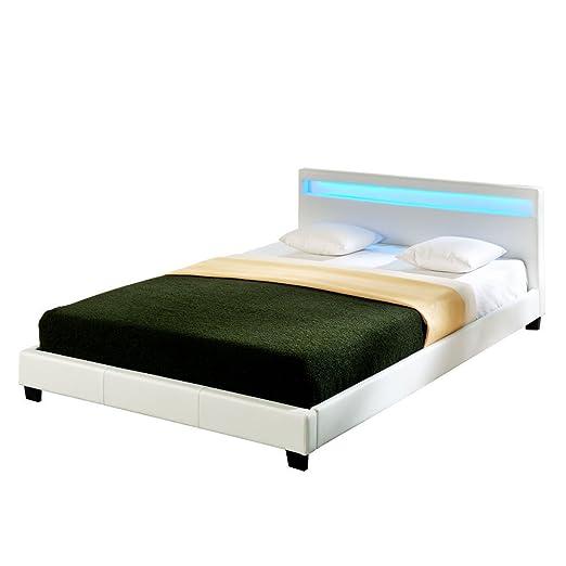 Letto imbottito Corium con illuminazione LED (Paris) (bianco)(180x200cm) Letto moderno / similpelle / con rete a doghe di legno / letto matrimoniale