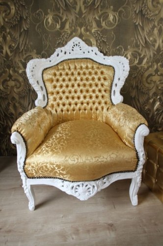 Barock Sessel King Gold Muster / Weiss – Möbel Antik Stil