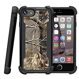 Apple iPhone 7 Plus Case, iPhone 7 Plus Cover [Shockwave Armor] Tempered Glass + Hybrid Shock Resistant Silicone Hard Exterior Kickstand by Miniturtle® - Fallen Leaves Camouflage