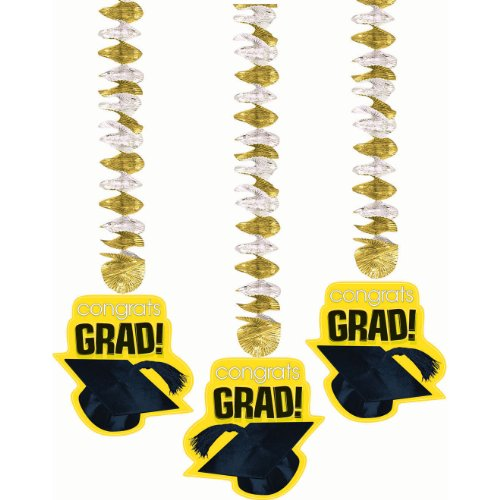 Congrats Grad Yellow Graduation Metallic Dangling Cutouts