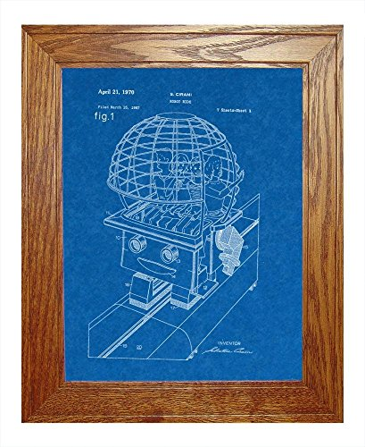 "Robot Ride Patent Art Blueprint Print In A Honey Red Oak Wood Frame (11"" X 14"")"