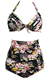 Gigileer Vintage Women's High Waisted Bikini Push Up Set Swimsuits Swimwear Flora XXL