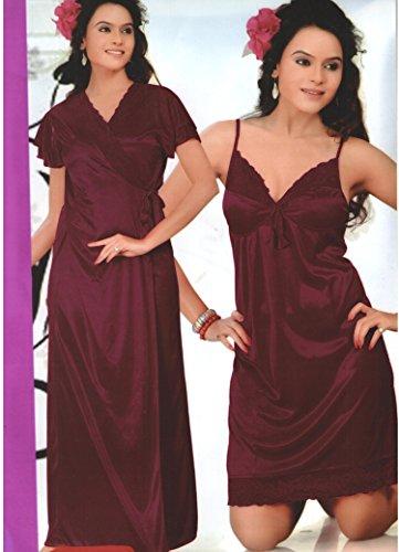 b74cc763097 Indiatrendzs 0098452333746 Honey Moon Nighty 2 Piece Pink Braidal Silk Satin  Hot Sexy Night Wear Free Size - Price in India