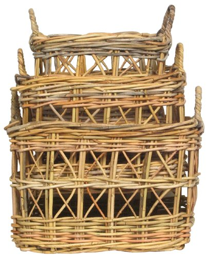 """Traders & Co. Natural Rattan Square Baskets Set / 3 Large = 20 1/2"""" X 13 1/2""""H at Sears.com"""