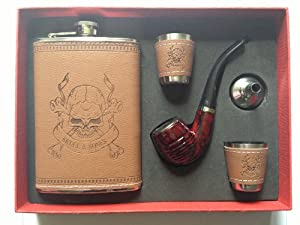 Gift Set of Skulls & Bones Printed 9oz. Leather Wrapped Flask, 2 Shot Glasses, 1 Funnel and Red/Black Printed Pipe – Camel