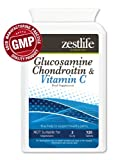 "GLUCOSAMINE CHONDROITIN with Vitamin C - 120 tablets Chondroitin exists naturally in your cartilage and is often taken along with Glucosamine to assist with maintaining joint health. The combined use is know to produce a ""synergistic"" effect. Its been prescribed for pain relief in osteoarthrits."