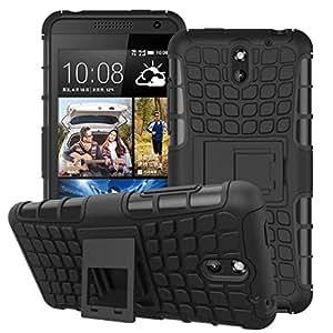 Wellmart Hybrid Defender Military Grade Armor Kick Stand Back Case Cover for HTC Desire 610 (Black)