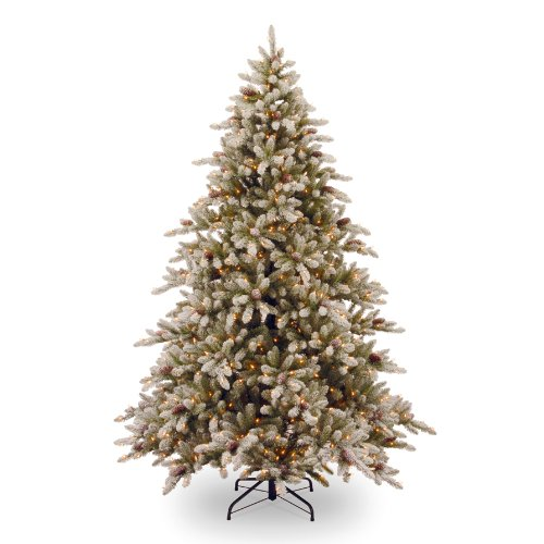 National Tree (SR1-307-75) Snowy Concolor Fir Hinged Tree with 70 Snowy Cones and 800 Clear Lights, 7.5-Feet