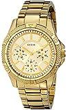GUESS Women's U0235L5 Dynamic Feminine Mid-Size Multi Function Gold-Tone Sport Watch