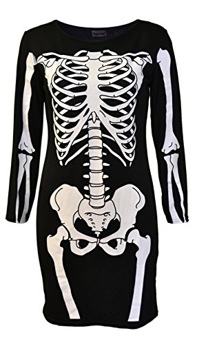 Noroze-Ladies-Halloween-Skeleton-Skull-Bone-Girls-Dress