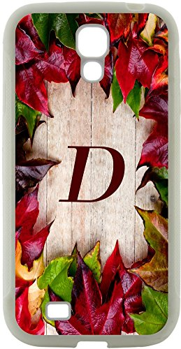 Rikki Knighttm Rikki Knight - Letter D Monogram Initial Rustic Fall Leaves On Wood Flooring Background Design Samsung® Galaxy S4 Case Cover (White Hard Rubber Tpu With Bumper Protection) For Samsung Galaxy S4 I9500 front-611081