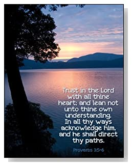 Trust in the Lord Notebook - Words of encouragement from Proverbs 3:5 - 6 against a setting sun backdrop creates a peaceful feeling with the cover of this college ruled notebook.