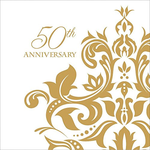 Golden Anniversary Celebratory Napkins 3-ply Beverage Napkins 108 Per Pack