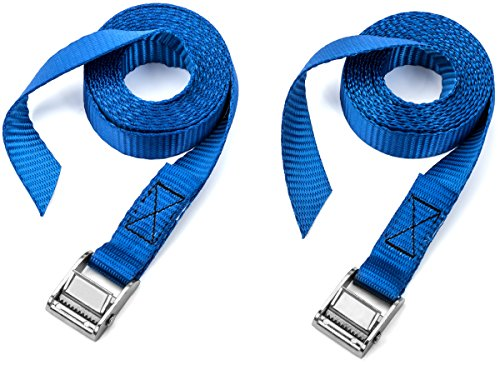 Two Pack of Premium Lashing Straps by Vault - 8 Ft Long - Rated 250 Lbs - Perfect Tie Down Strap for Kayaks Carriers, Moving Canoes, and Roof Racks - Great Accessory to Go With Ratchet Tie-Downs (Long Cargo Rack compare prices)