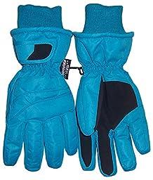 N\'Ice Caps Kids Bulky Thinsulate and Waterproof Ski Glove With Ridges (8-10yrs, turq)